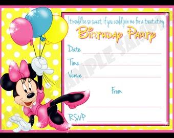 Minnie Mouse Birthday Party Invitation / Invites