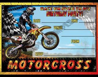 Motorcross Birthday Party Invitation / Invites