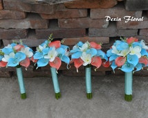 4 Wedding Bouquets-Real touch Turquoise Aqua Blue Coral Callas Lilies White Plumerias Rustic Silk Flowers Bridal Bouquets