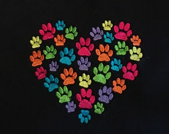 Embroidered Heart with Multicolor Paws on a Crewneck Sweatshirt