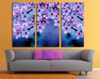 3 Panel Canvas Split, Beautiful  April Cherry Blossom, canvas art,  giclee print ,Interior design, Room Decoration, Photo gift
