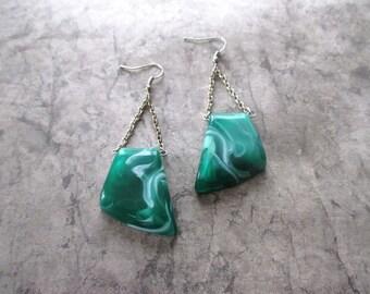 Industrial / Pendant earrings geometric earrings Urban earrings Green earrings triangle earrings Fashion trendy Boucles d'oreilles