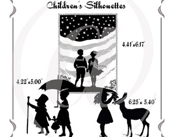 Instant Download Vintage Victorian Children Silhouettes:  Clipart, Printables, Crafts, Decoupage, Scrapbooking,Stamps, Stickers