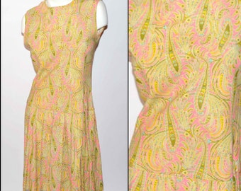 60s Vintage Pink and Green Sleeveless Mod Paisley Dress