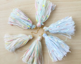 Fluffy mohair pastel tassel earrings (3 colors)