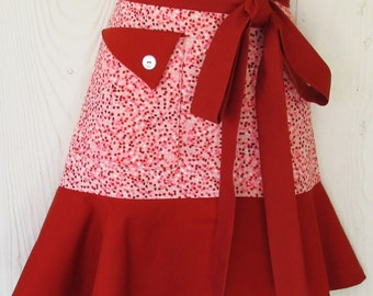 Coral and Rust Half Apron, Coral Speckled Apron, Orange, Pink, Retro Style, Waist Apron, KitschNStyle