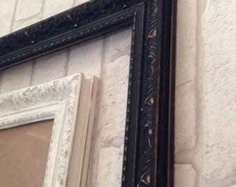 Vintage Black A2 Ornate Antique Style Picture Frame Shabby Chic