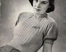 "Vintage 30's Knitted Sport Angora Blouse PDF / Jack Frost Blouse Book 1939 ""DREVON"""