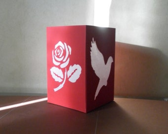"""Tealight holder """"rose and Dove"""" custom card stock paper and crepe paper"""