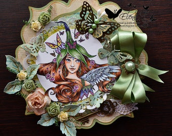 Digital Stamp - Instant Download - Nature Sprite Portrait 2  - Fantasy Line Art for Cards & Crafts by Artist Sara Burrier for Crafts and Me