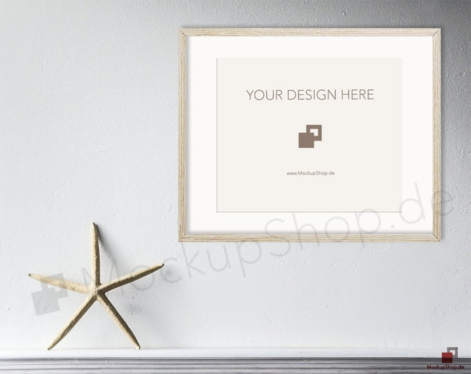 Starfish FRAME MOCKUP SCANDINAVIAN 8x10 // white wall background // mockup background nordic / Instand Download / Mockup Scandinavian