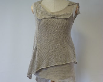 Handmade natural linen top, S size. Perfect for Summer.