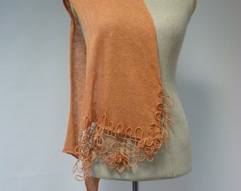 Orange linen scarf, delicate and feminine together.