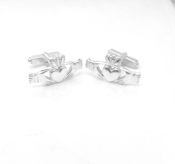 Claddagh cuff Links - Sterling Silver Cuff Links - Mens Jewelry - Wedding Jewelry - Father's Day - Made in Ireland - Free Shipping
