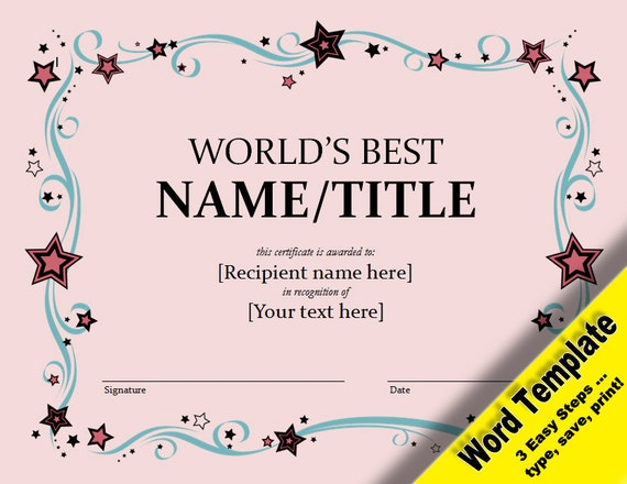 World's Best Award Editable Word Template Printable