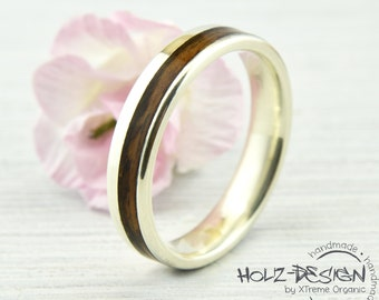 White Gold Engagement Ring Wedding Band with Bentwood Wooden Bands Rustic Country Wedding handmade