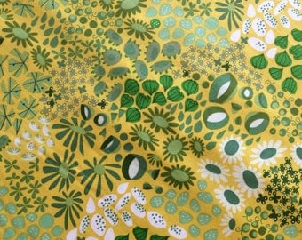 The Lovely Hunt, Flower Carpet, Meadow in Yellow and Green, Floral by Lizzy House for Andover Fabrics