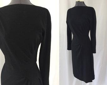 1950s BLACK WOOL Carlye dress ** size small ** vintage fifties long sleeve wiggle dress