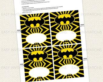 Batman Labels Food Tent Card Party Editable Instant Download Digital Printable