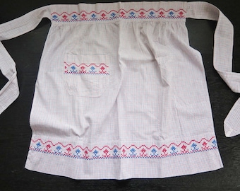 Vintage Cotton Half Apron Blue Red Checked Embroidered with Pocket Scandinavian #2-20