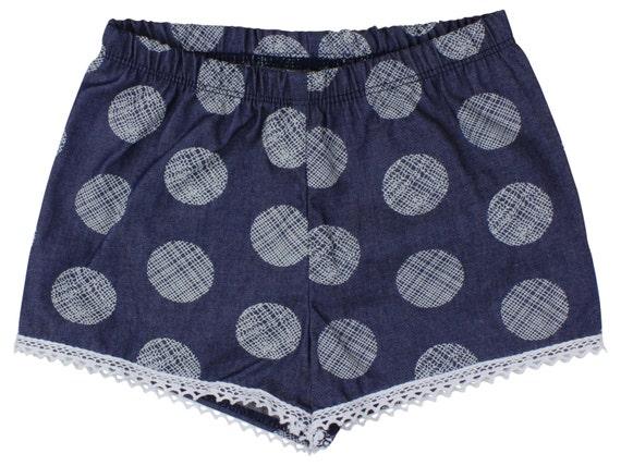 Denim Baby Polka Dot Shorts Toddler Shorts Girl Shorts Cluny Lace Trim Chambray Light Weight Denim Baby Polka Dot Shorts Summer Girl Shorts