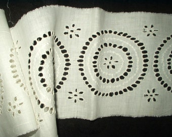 Antique Victorian Broderie Anglaise Trim Antique Whitework Hand Made Embroidered White Cotton Yardage Embellishment