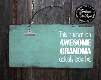 grandma, gift for grandma, grandma picture frame, grandma sign, grandma decoration, Christmas gift for grandma, awesome grandma, 264