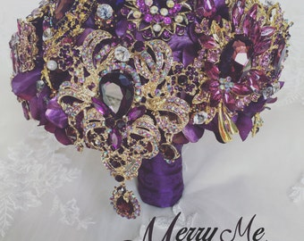 Purple Brooch Bouquet - Purple Broach Bouquet - Purple Jeweled Bouquet - Purple Keepsake Bouquet - Handmade Purple Bouquet - Purple Bouquet