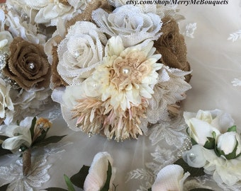 Burlap Bouquet Package - Burlap Bouquets - Wedding Bouquet Package - Burlap Wedding Flowers - Fabric Flower Bouquets - Burlap Bouquets