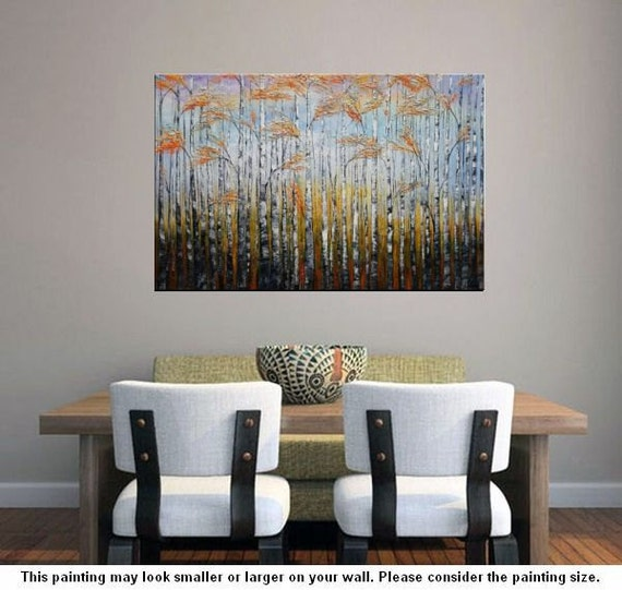 landscape painting birch tree painting extra large canvas