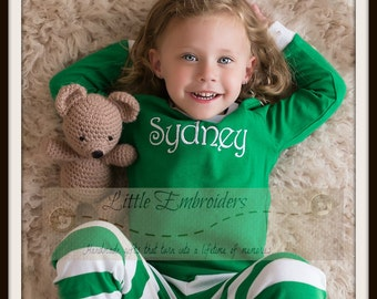 Pre-Order Personalized Christmas Pajamas - Embroidered Monogram Christmas Pj's - Green and White Stripe Christmas Pjs for the family