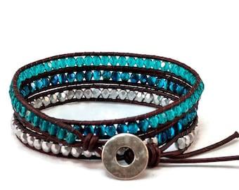 Bohemian bracelet womens bracelet wrap bracelet boho bracelet beaded bracelet women leather bracelet button clasp womens gift RLB1.5-14-02
