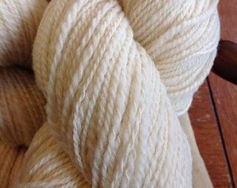 Handspun Yarn - Ashland Bay-Corriedale DK weight. Ready to dye or keep natural ecru color.