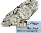 1920s Art Deco 1.73ctw H VS1 Diamond Platinum Engagement Anniversary Ring MSRP 13810