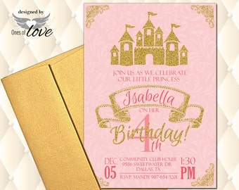 Princess Party Invite | Printable Invitation | Pink and Gold | Custom Invitation | Castle Invite | Girls Party | Birthday Invite