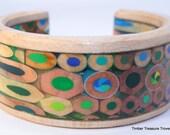 Colored Pencil Cuff Bracelet, Coloring Pencil Jewelry, Cuff Style Bracelet, Colored Pencil Art, Custom order, Men's or Women's bracelet,