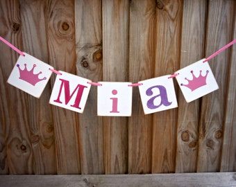 Name Banner/Personalized Banner/Girls bedroom decor/Personalized Garland/photo prop/nursery decoration/christening/naming ceremony/pinkcrown