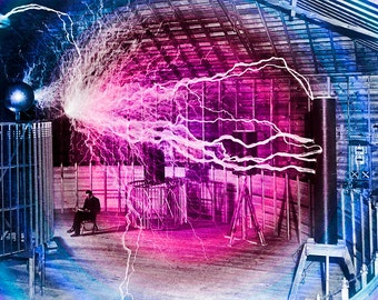 Nikola Tesla Electricity Experiment 1890 Original Art Photo Wall Art Educational Office Decor