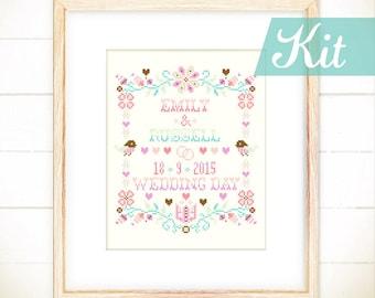 Cross stitch,Wedding cross stitch kits,Custom cross stitch,Embroidery kits,Wedding keepsake ideas,DIY kits - Happy Floral Wedding Keepsake