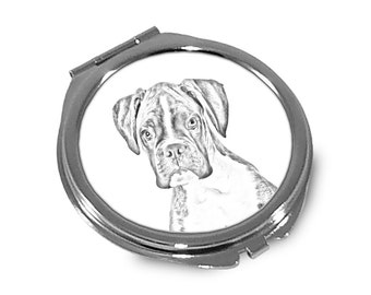 Boxer - Pocket mirror with the image of a dog.