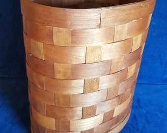 woven wood basket style waste basket