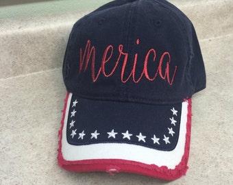 Merica baseball cap distressed stars  FREE SHIPPING