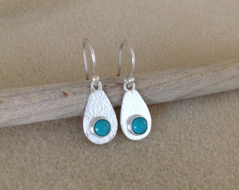 Turquoise Sterling and Fine silver drop earrings