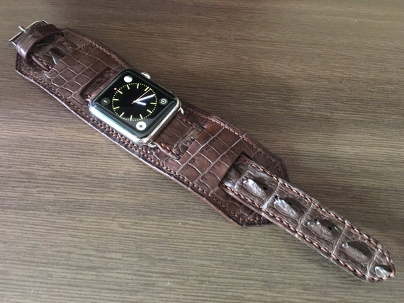Apple Watch Band | Apple Watch Strap | Vintage Brown Leather Cuff Watch Band | Real Alligator Skin Cuff Watch Strap For Apple Watch 42mm
