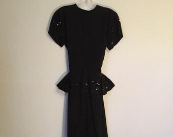SALE - Vintage Black Party Dress with Sequin Peplum