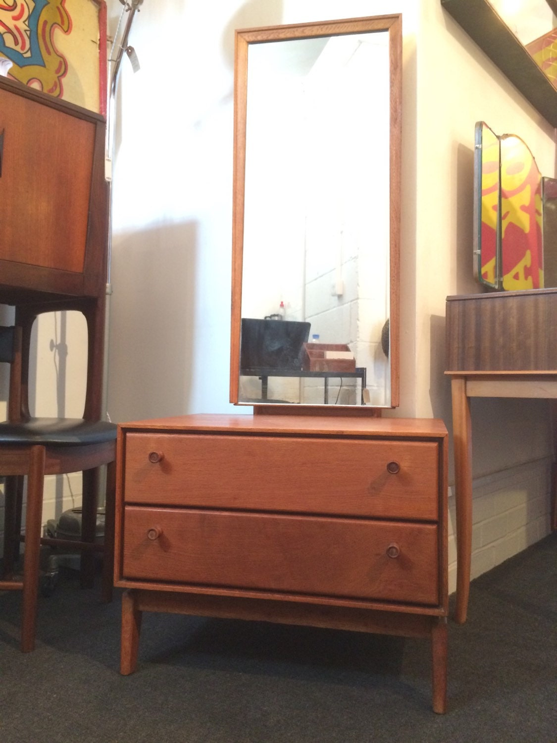 Sold 1950s oak dressing table with full length by erabrighton for Womens dressing table