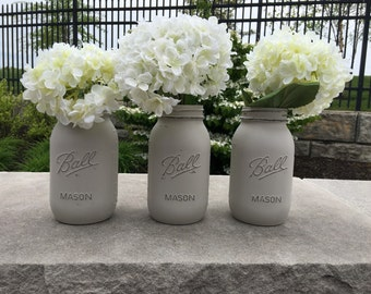 Greige mason jar, painted mason jar, neutral mason jar, shabby chic wedding, rustic wedding, rustic decor, fall decor, fall wedding