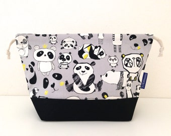 Bento bag, grey panda, lunch bag, snack bag, school lunch, food, bento set