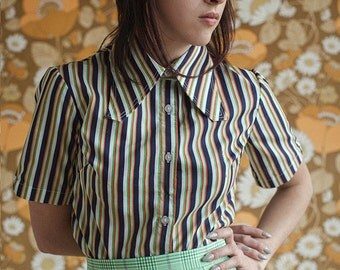 Rasha Swais Check squared striped Collar short sleeve Shirt