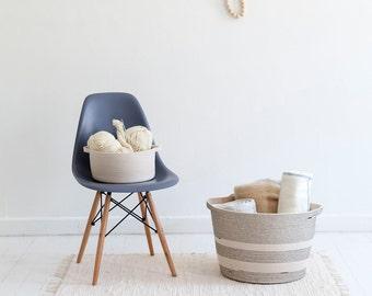 Large Rope Basket- Laundry Basket- Storage Solution- Black & White